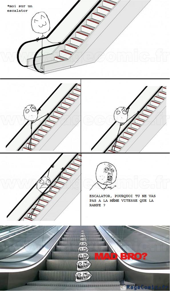 Escalator troll
