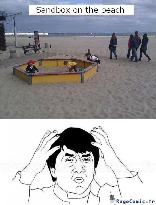 Bac à sable à la plage