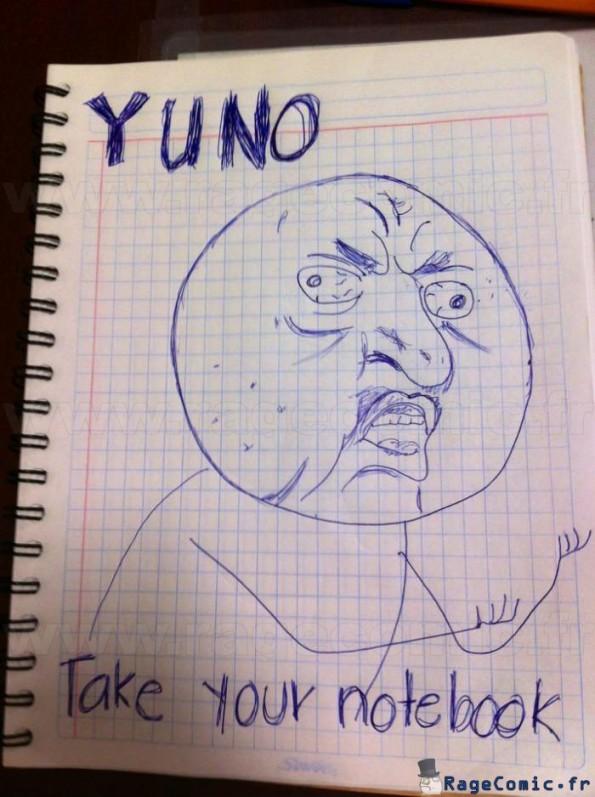 Quelqu'un a oublié son cahier (dessin du prof)