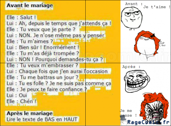 avant et apr s le mariage non class rage comics francais troll face. Black Bedroom Furniture Sets. Home Design Ideas