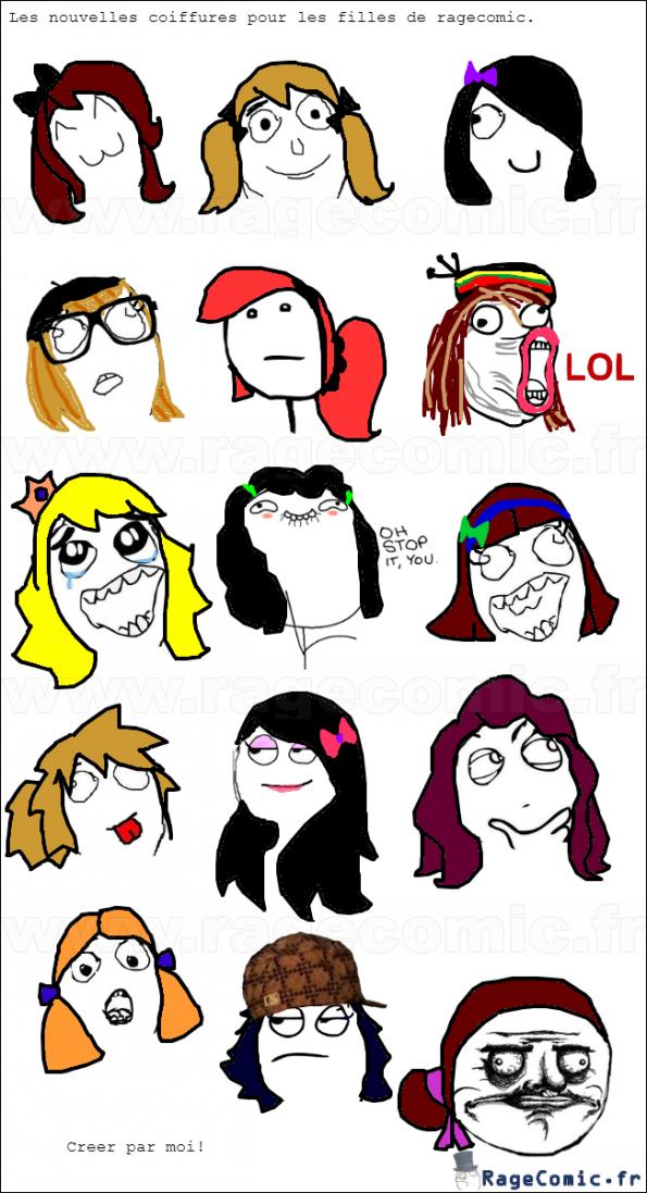 Les nouvelles coiffures pour les filles de ragecomic(creer par moi)