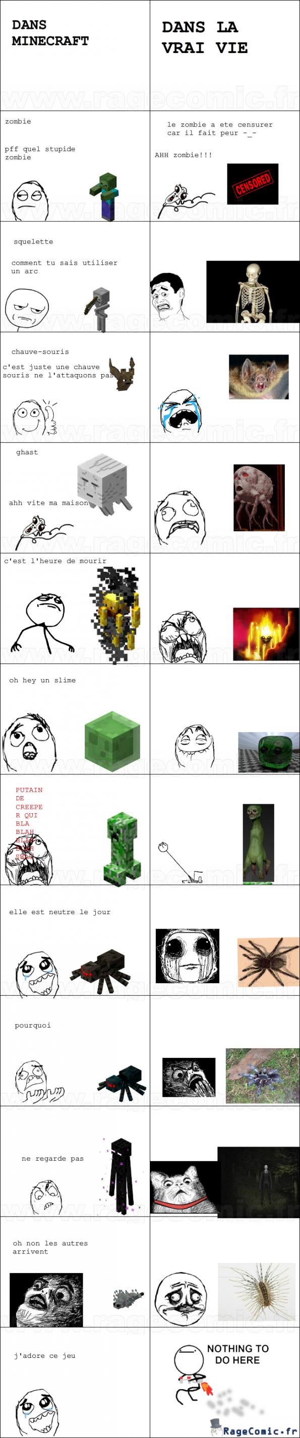 minecraft vs la realite
