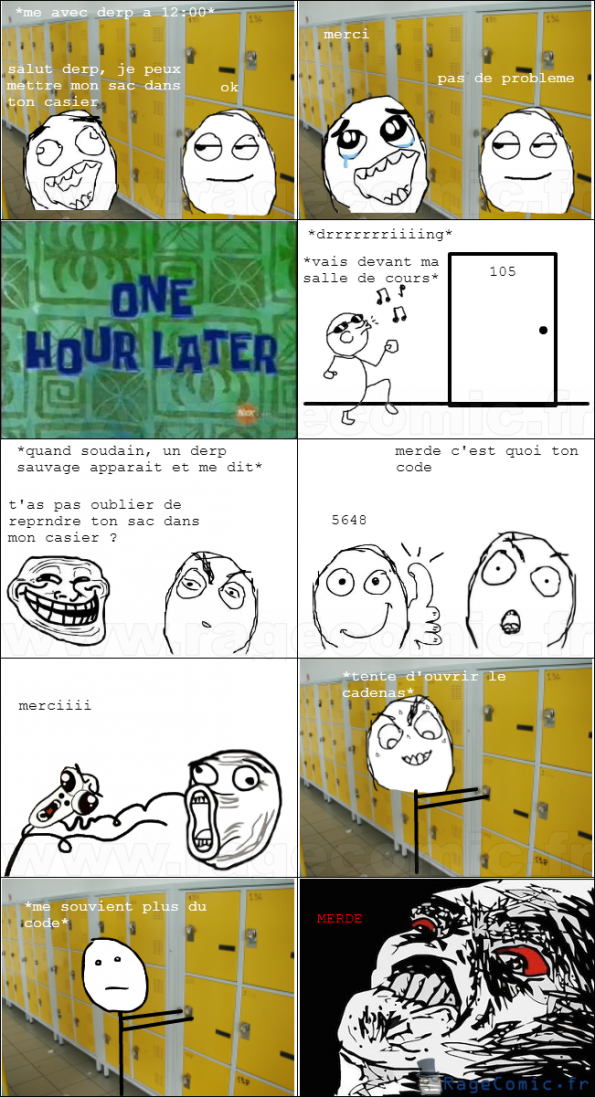 cadenas code casier oh crap rage comics francais. Black Bedroom Furniture Sets. Home Design Ideas