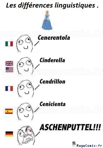 Cendrillon . Les différences linguistiques.