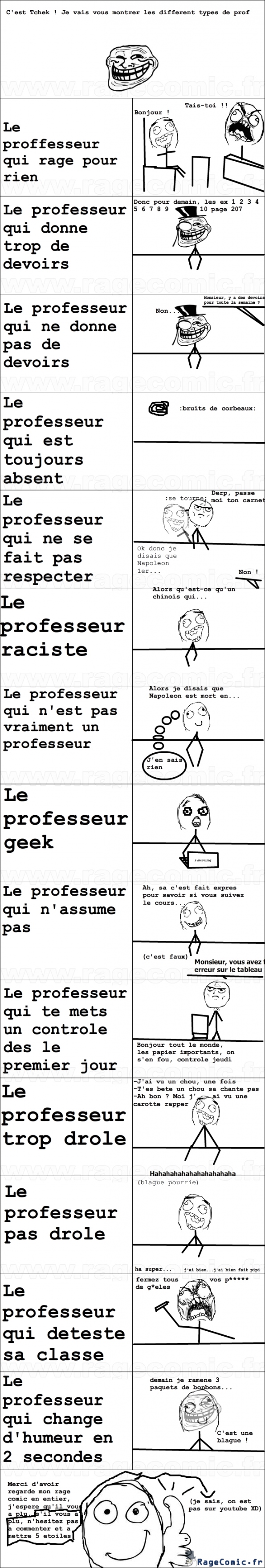 différent types de prof