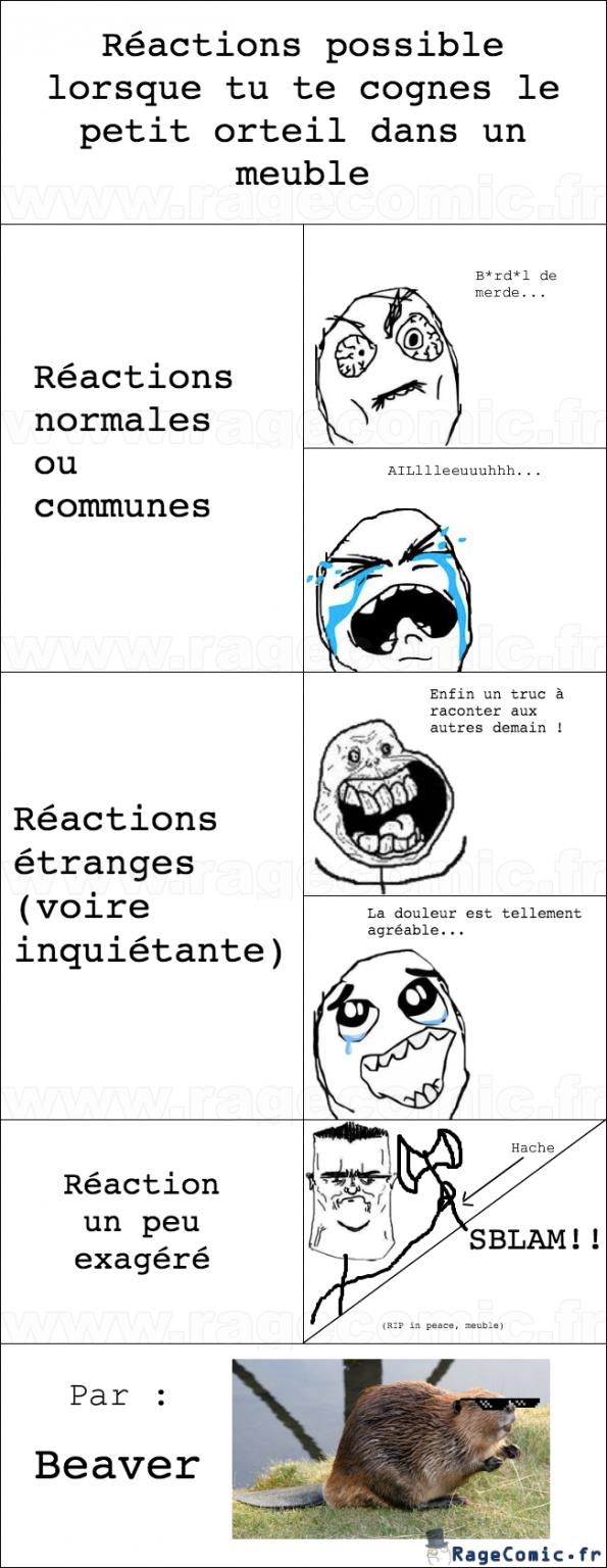 Les réactions pied/meuble