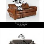 Quand tu t'assois sur un canapé ?